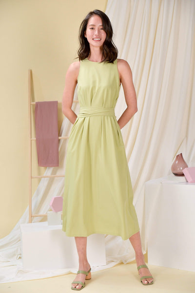 AWE Dresses BREE SASH MIDI DRESS IN APPLE