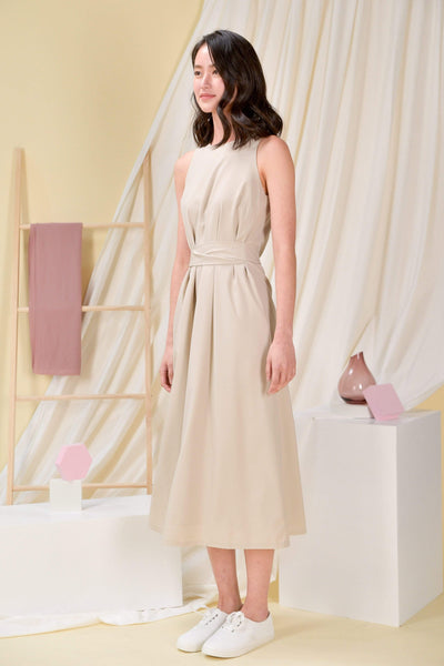 AWE Dresses BREE SASH MIDI DRESS IN OAT