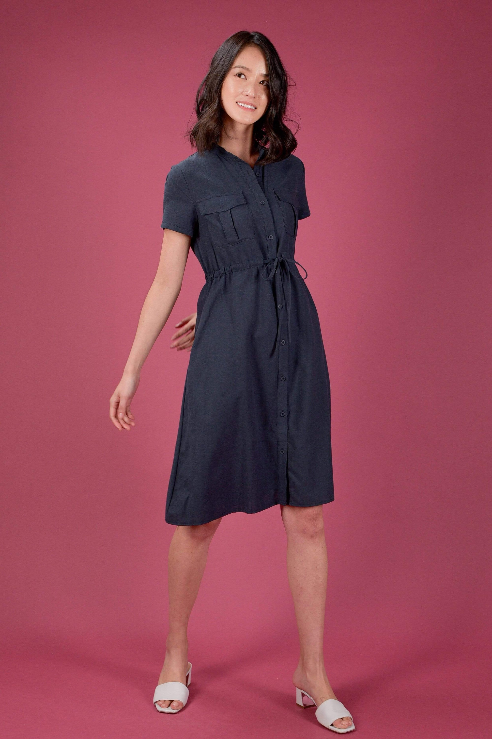BRISTOL DRAWSTRING SHORT-SLEEVE MIDI IN NAVY