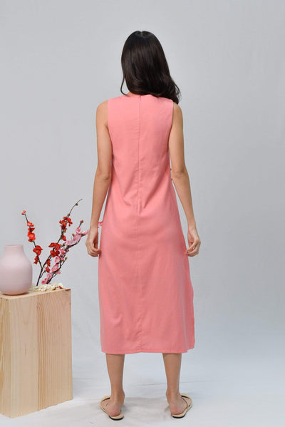 AWE Dresses BRYNN FLAMINGO PINK LINEN MIDI DRESS