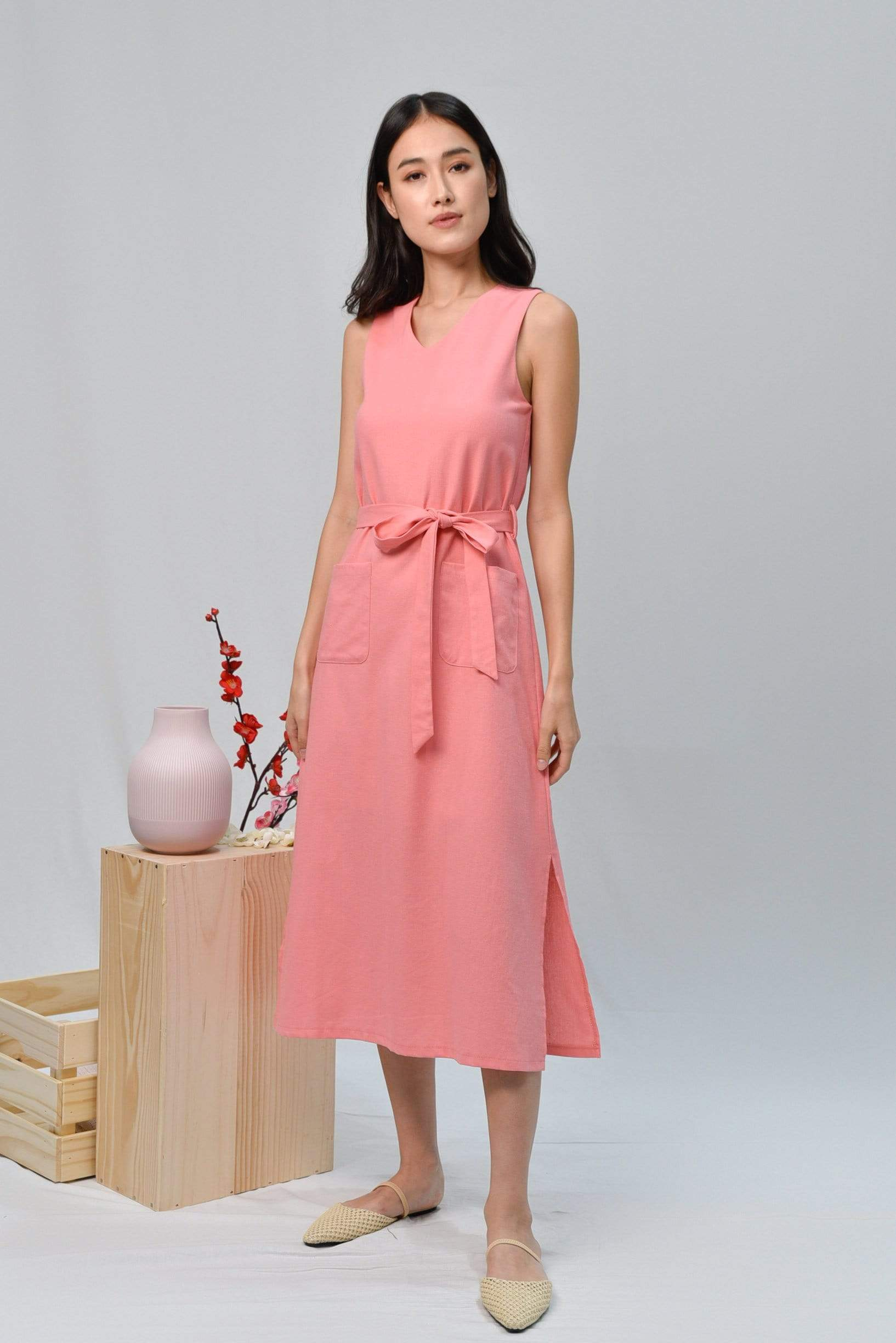 BRYNN FLAMINGO PINK LINEN MIDI DRESS