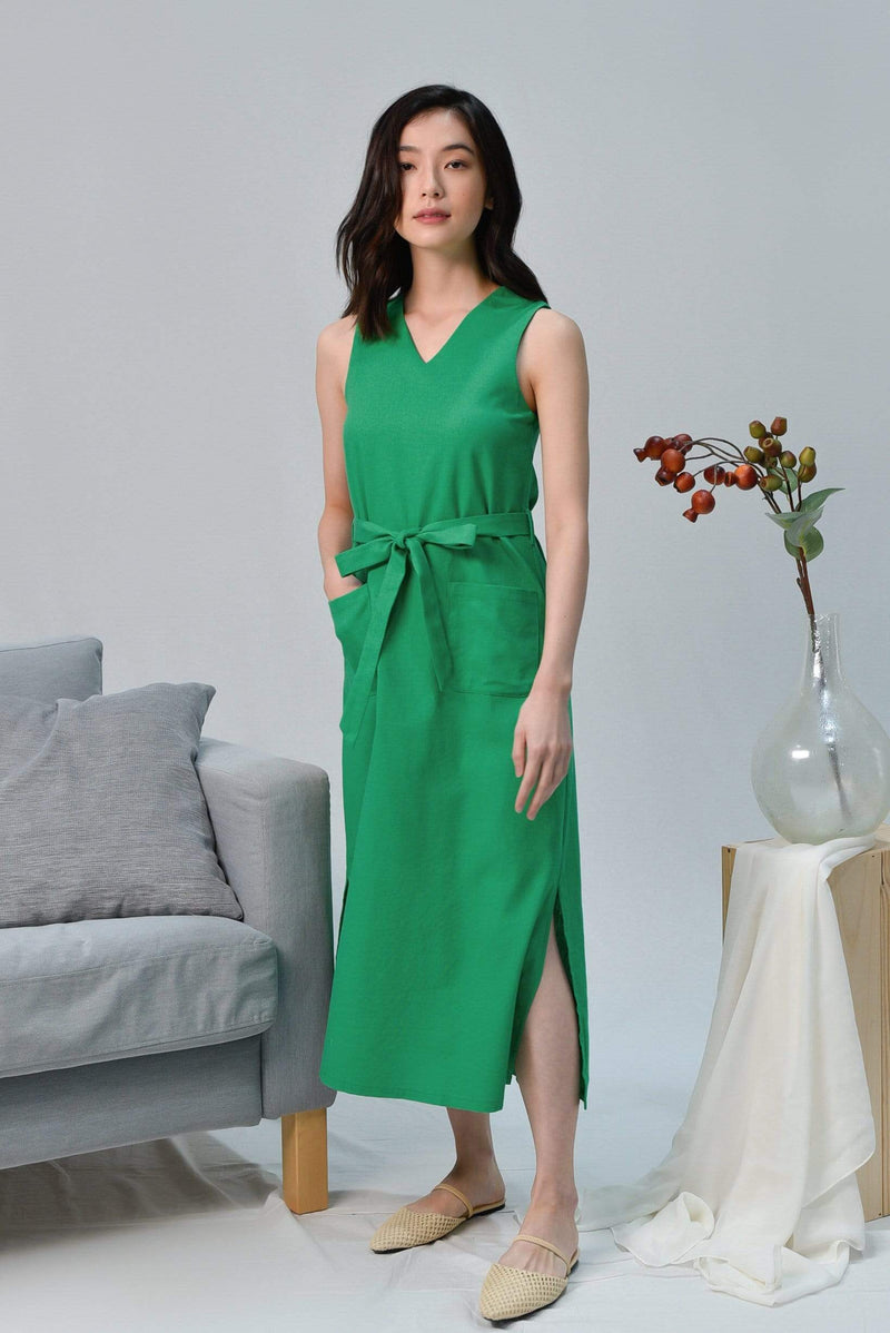 BRYNN KELLY GREEN V-NECK LINEN MIDI DRESS