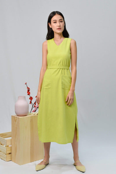 AWE Dresses BRYNN LIME LINEN MIDI DRESS