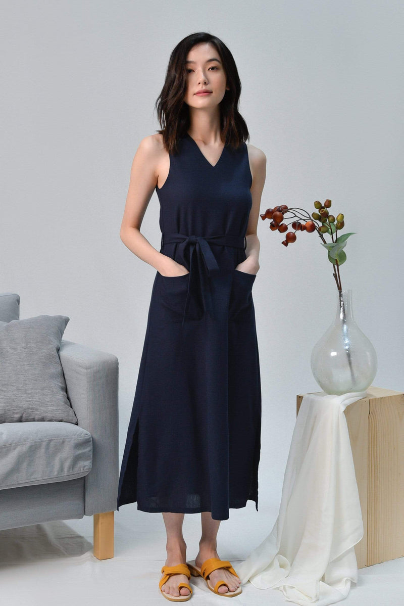 BRYNN NAVY V-NECK LINEN MIDI DRESS