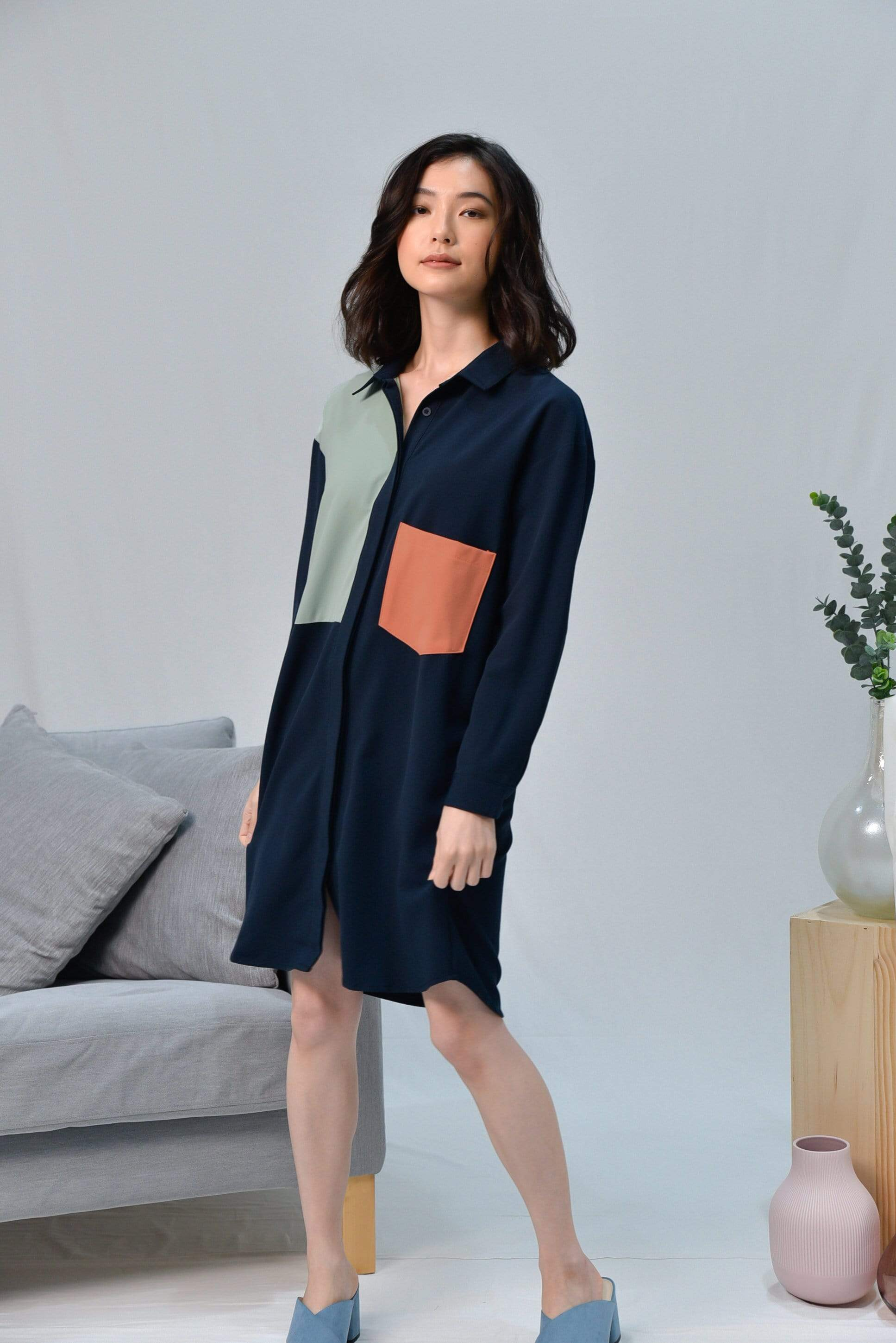 *RESTOCKED* CASA NAVY DROP-SHOULDER SHIRTDRESS