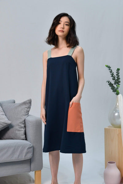 AWE Dresses CASA NAVY THICK-STRAP DRESS