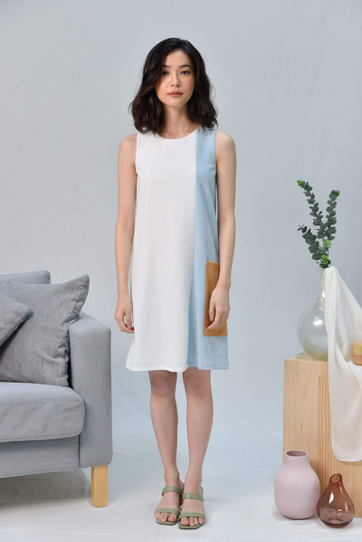 AWE Dresses CASA WHITE BLOCK SHIFT DRESS