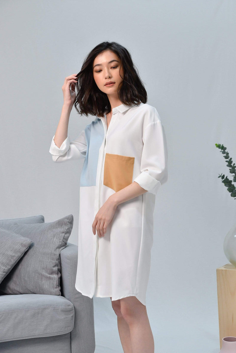 *RESTOCKED* CASA WHITE DROP-SHOULDER SHIRTDRESS