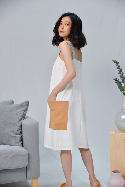 AWE Dresses CASA WHITE THICK-STRAP DRESS