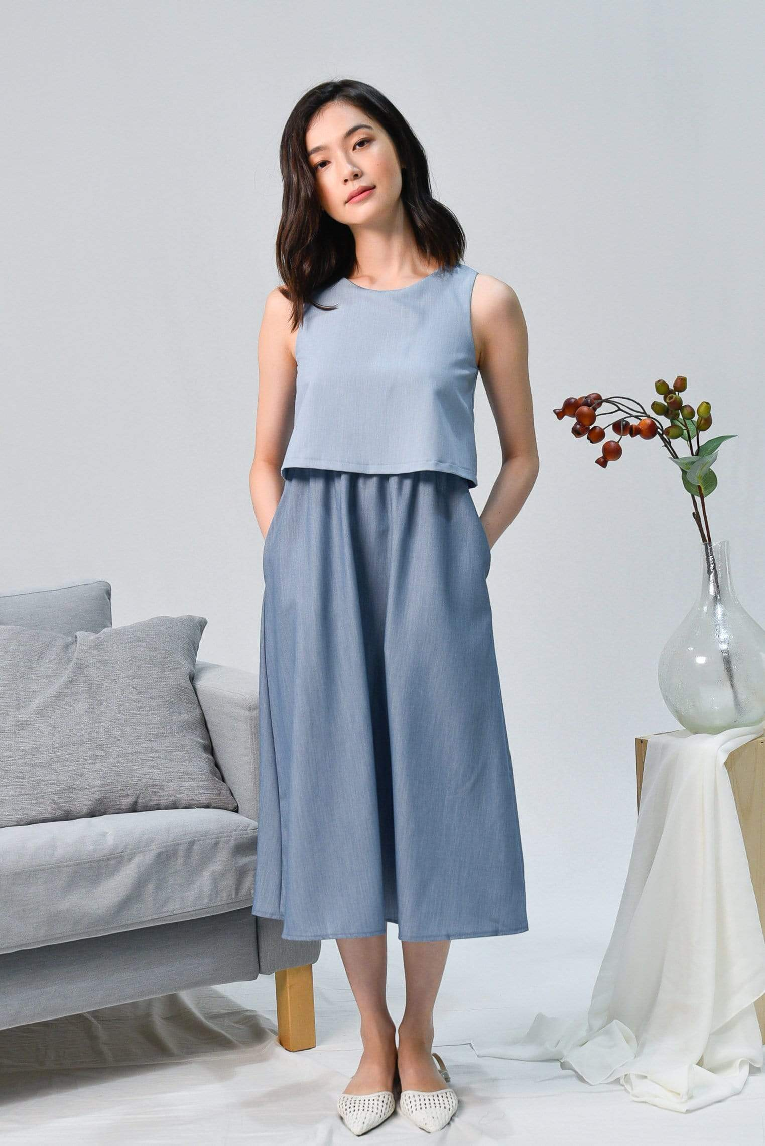 CHERLYN BLUE TWO-TONE OVERLAP DRESS