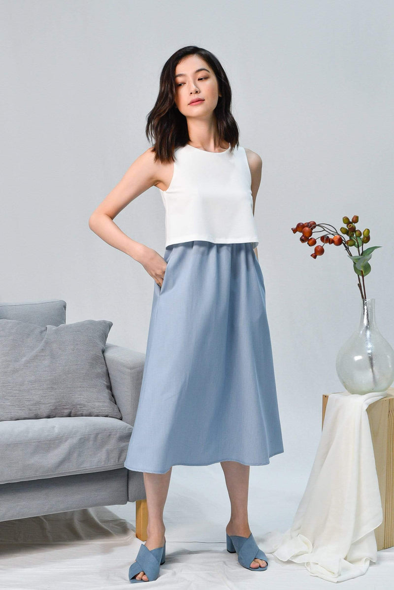 AWE Dresses CHERLYN WHITE TWO-TONE OVERLAP DRESS