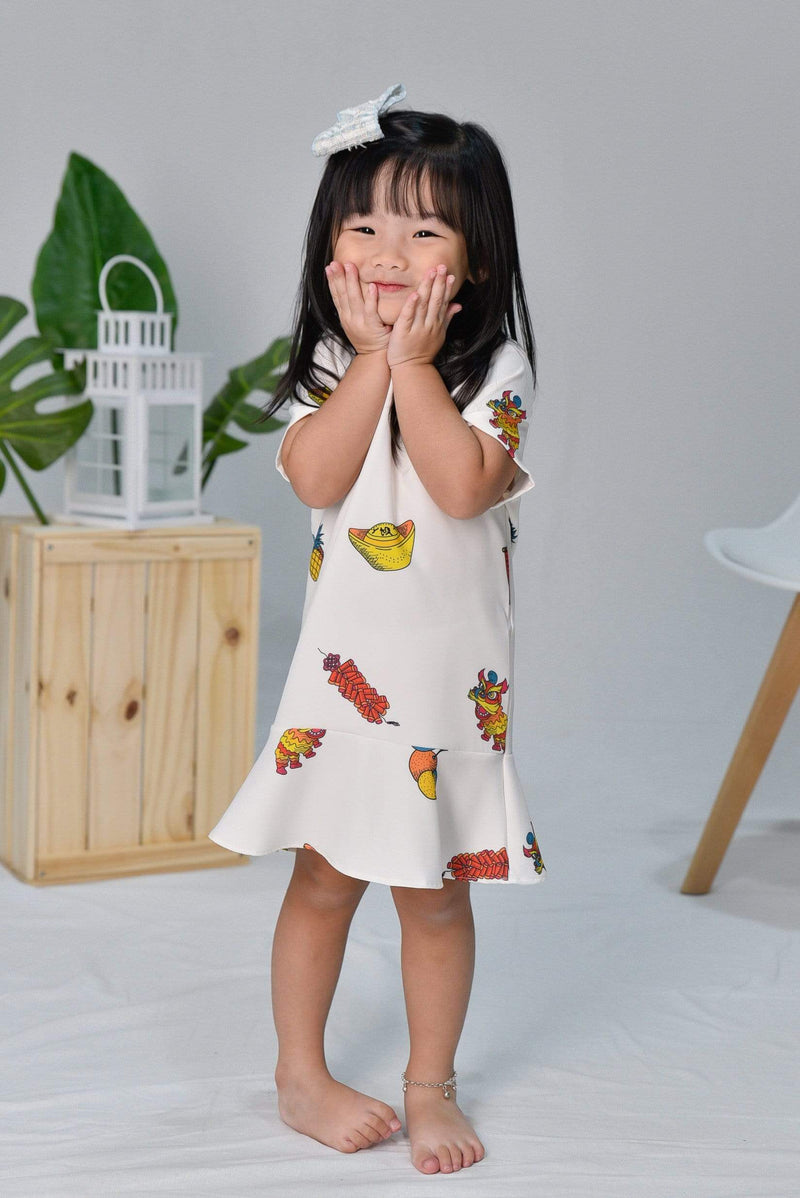 CNY KIDS SLEEVED DRESS IN OFF-WHITE