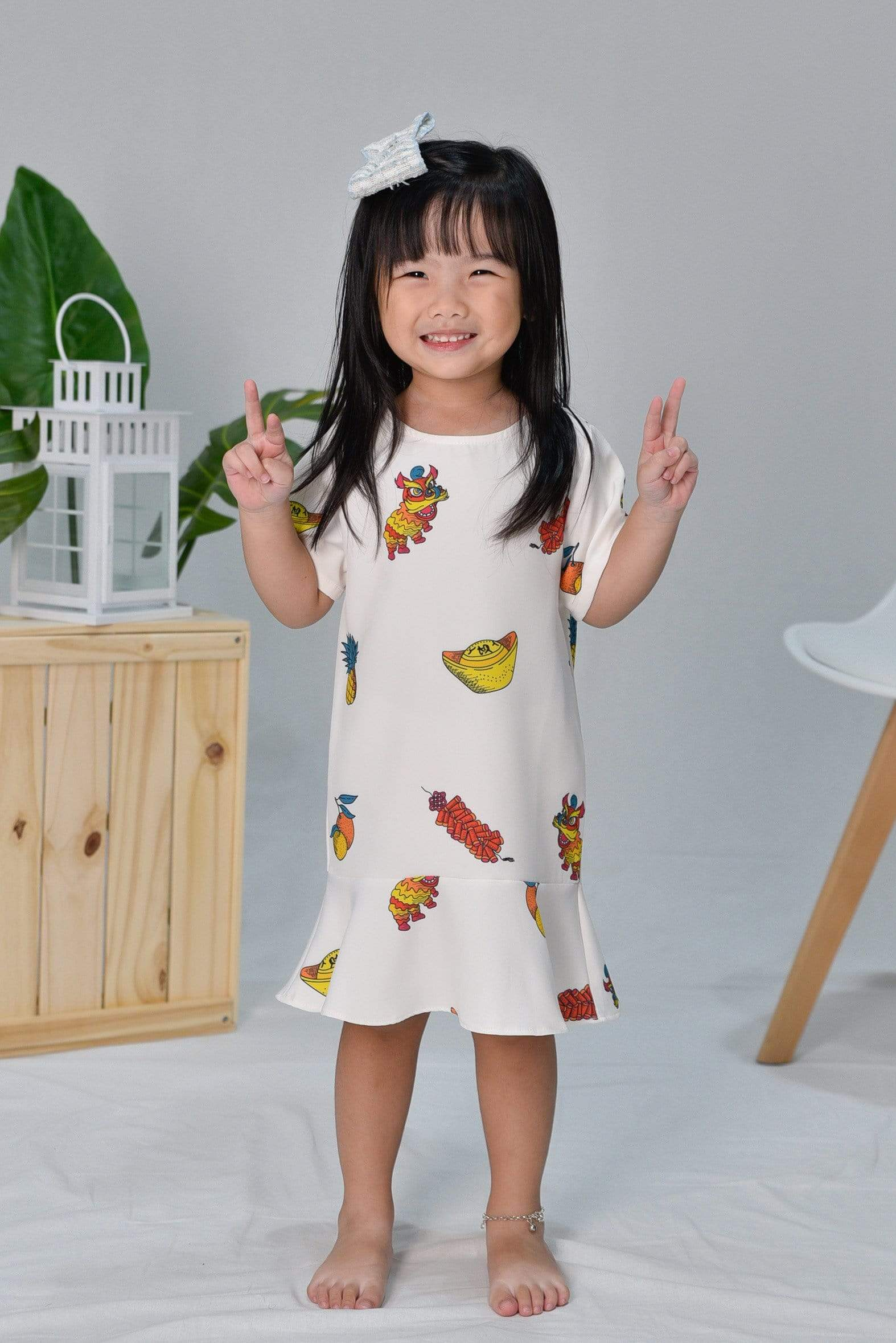 *RESTOCKED* CNY KIDS SLEEVED DRESS IN OFF-WHITE