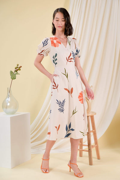 AWE Dresses DAISY BLOOMS WRAP DRESS IN BEIGE
