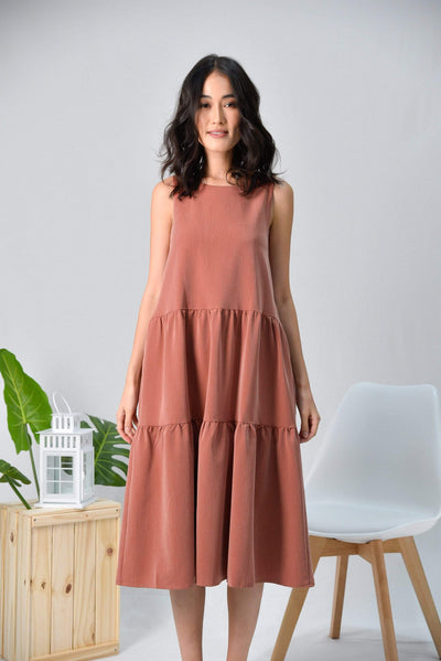 AWE Dresses DARA BRICK TIERED PARACHUTE MIDI DRESS
