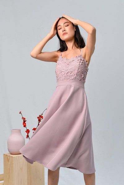 AWE Dresses DARCIE DUSTY PINK CROCHET SWEETHEART SKATER DRESS