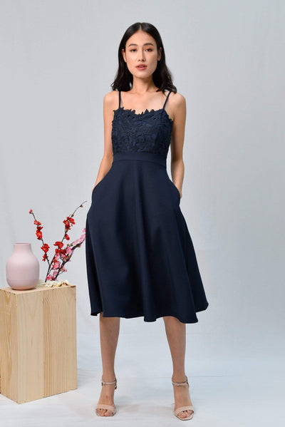 AWE Dresses DARCIE NAVY CROCHET SWEETHEART SKATER DRESS