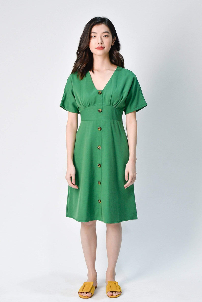 EDITA KELLY GREEN SLEEVED BUTTON MIDI DRESS
