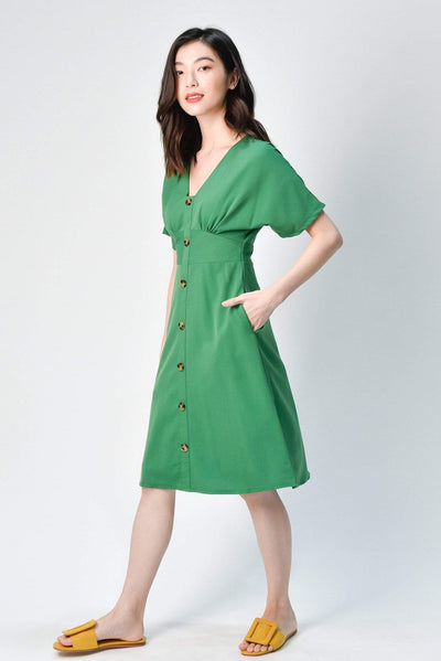 AWE Dresses EDITA KELLY GREEN SLEEVED BUTTON MIDI DRESS