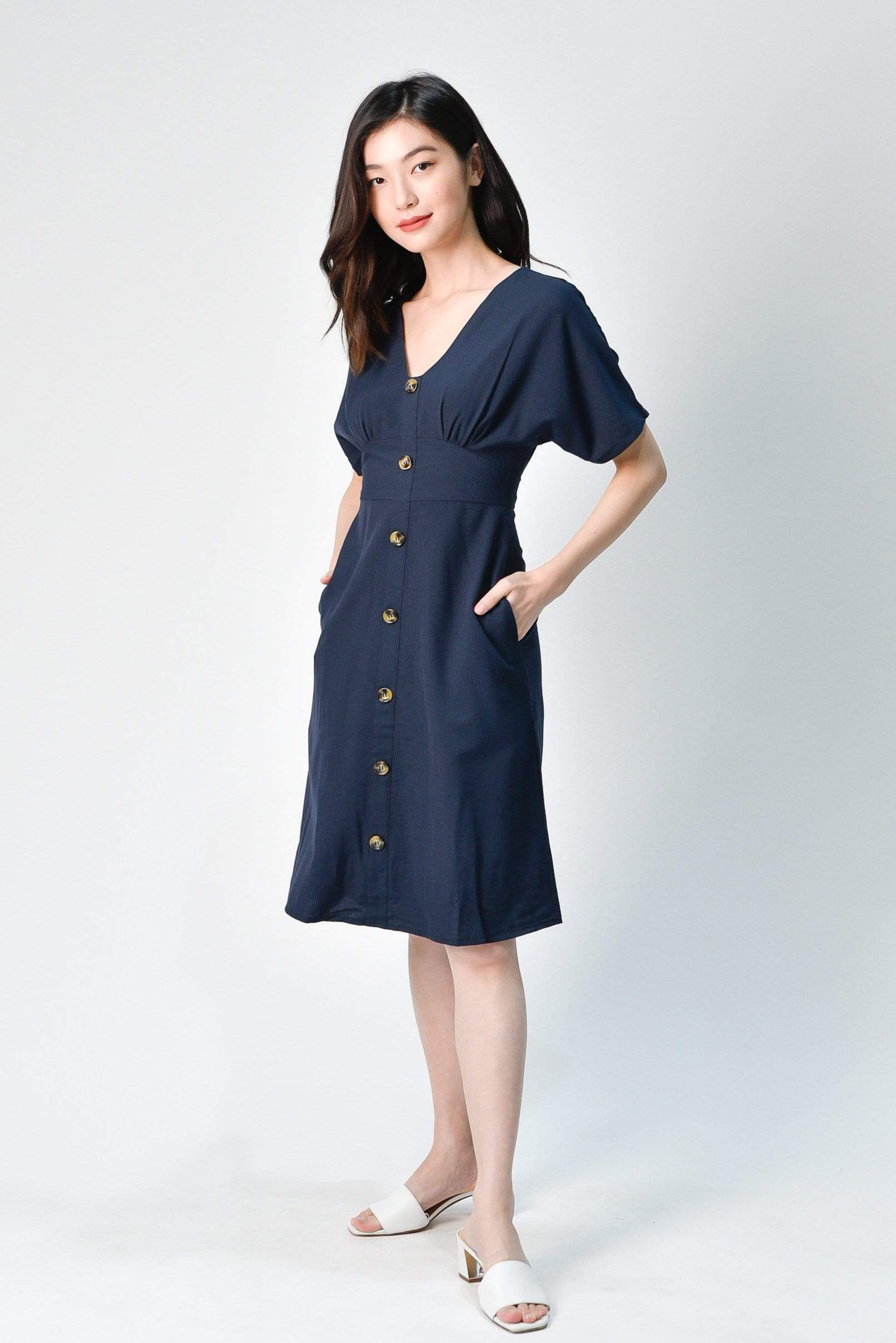 EDITA NAVY SLEEVED BUTTON MIDI DRESS