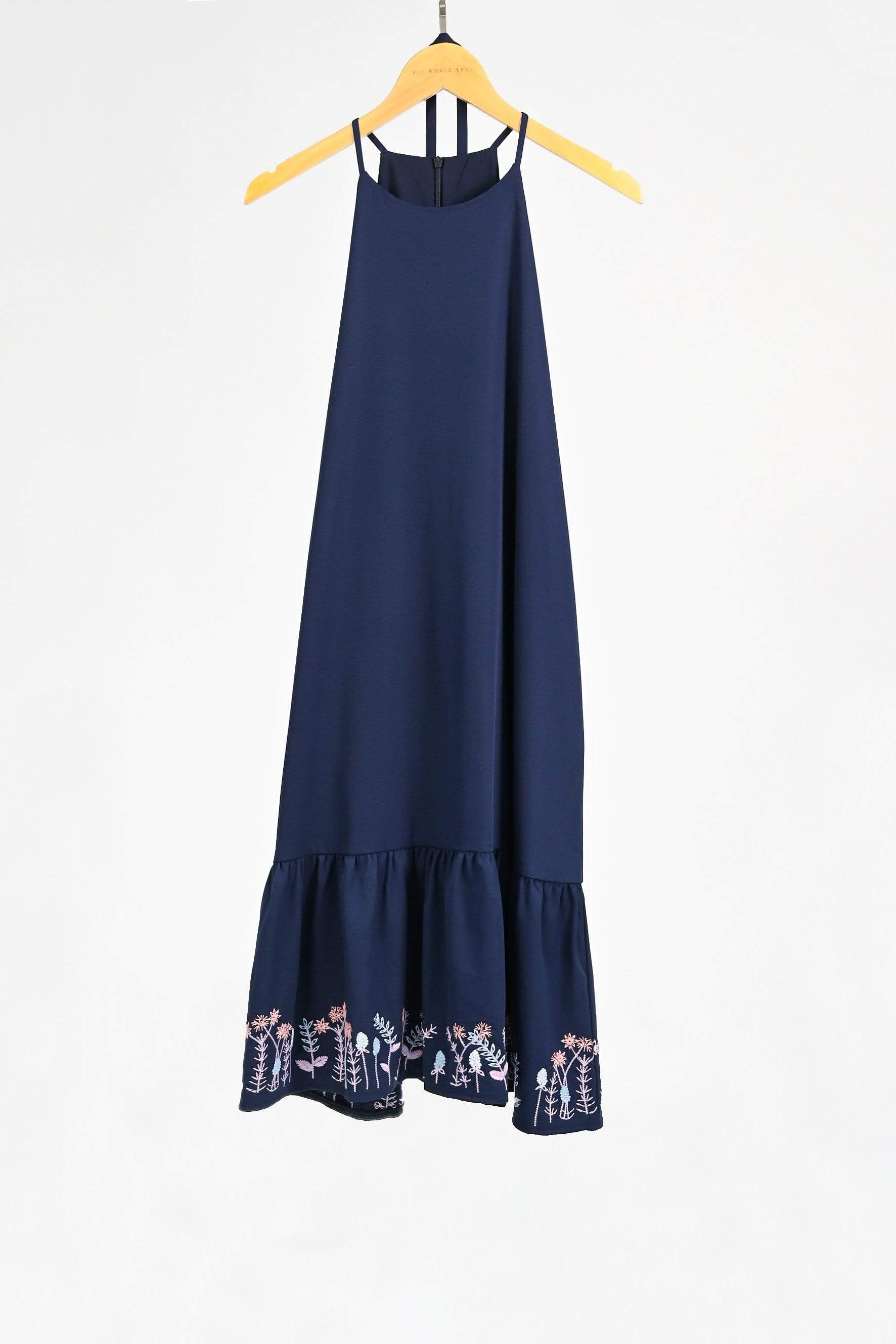 ELIA NAVY HIGHNECK EMBROIDERY DRESS