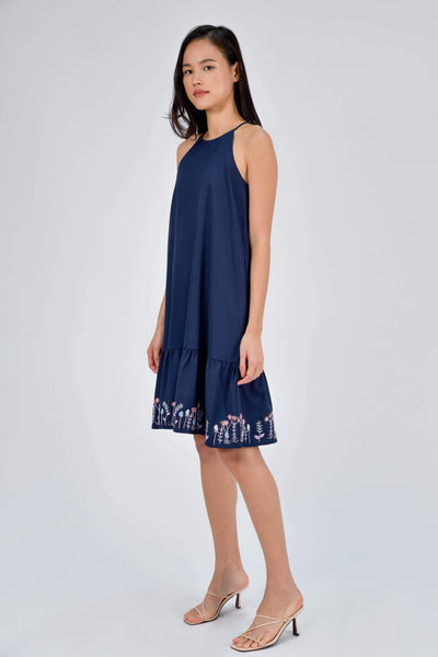 AWE Dresses ELIA NAVY HIGHNECK EMBROIDERY DRESS