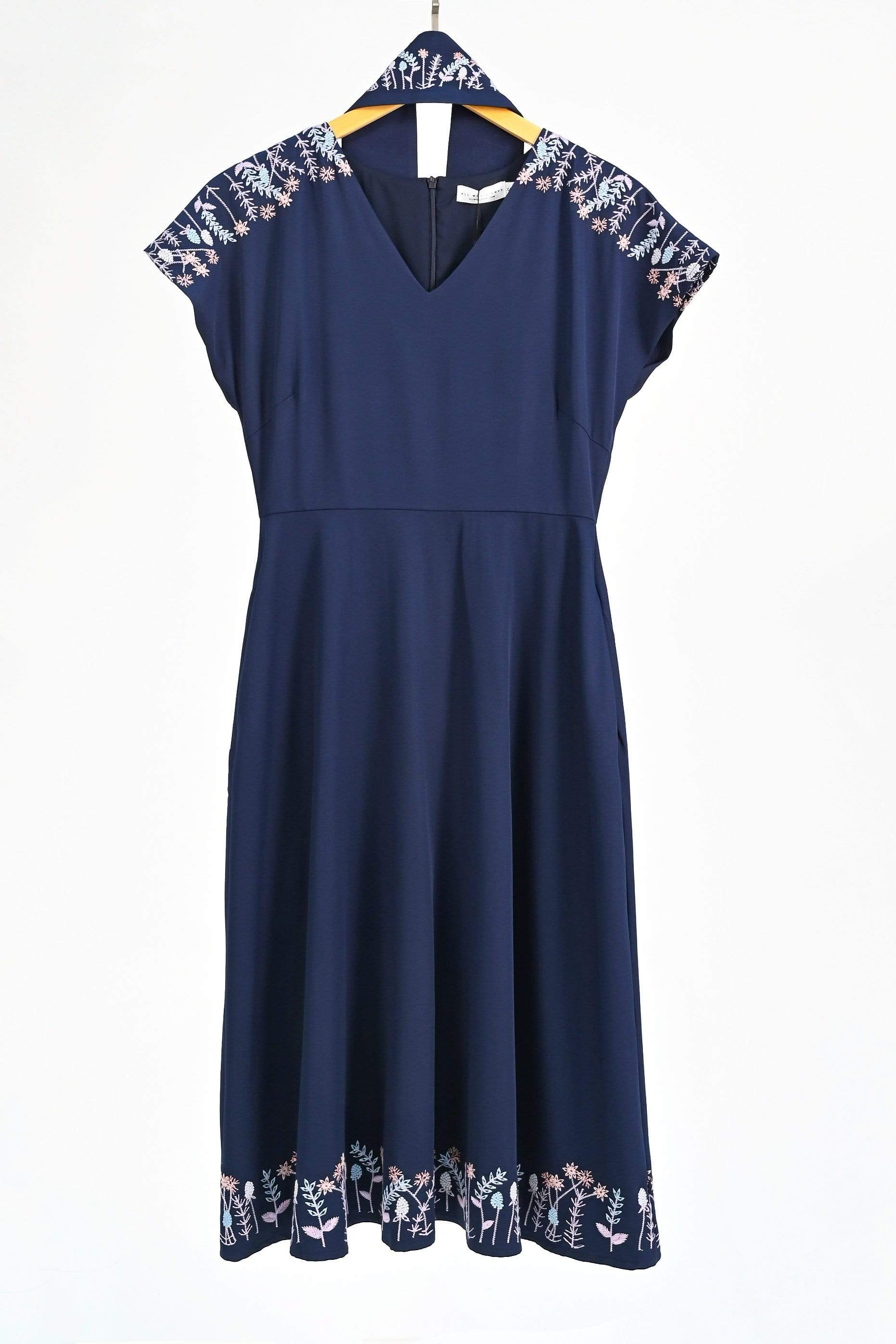ELIA NAVY OBI-SASH SLEEVED EMBROIDERY DRESS