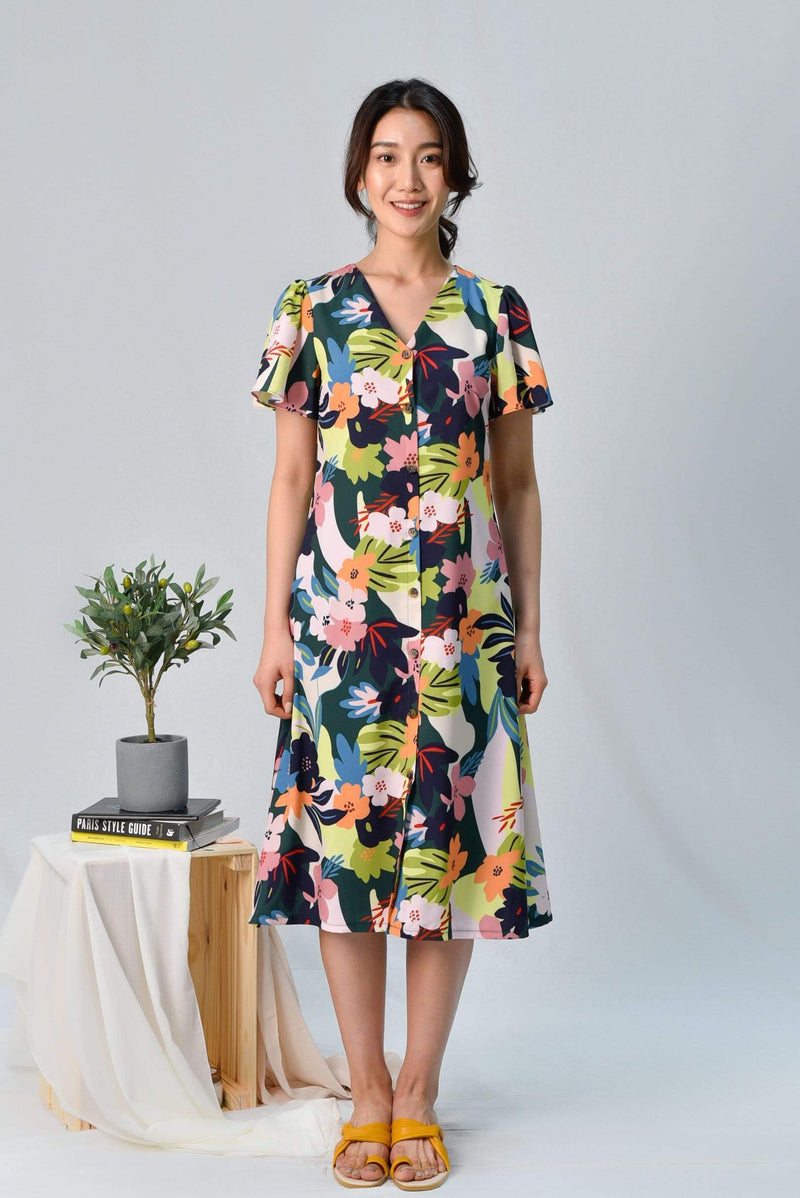 AWE Dresses ESPERANZA SLEEVED BUTTON MIDI DRESS IN WHIMSICAL