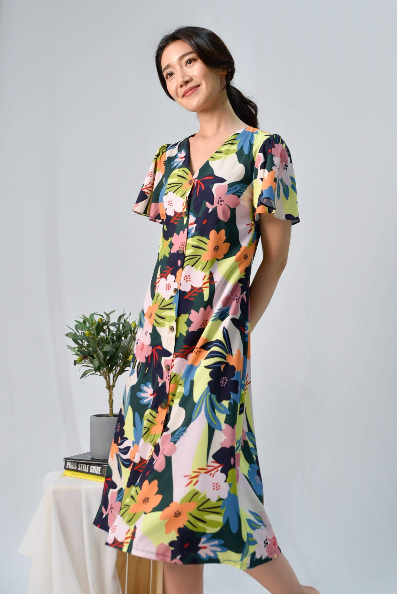 ESPERANZA SLEEVED BUTTON MIDI DRESS IN WHIMSICAL