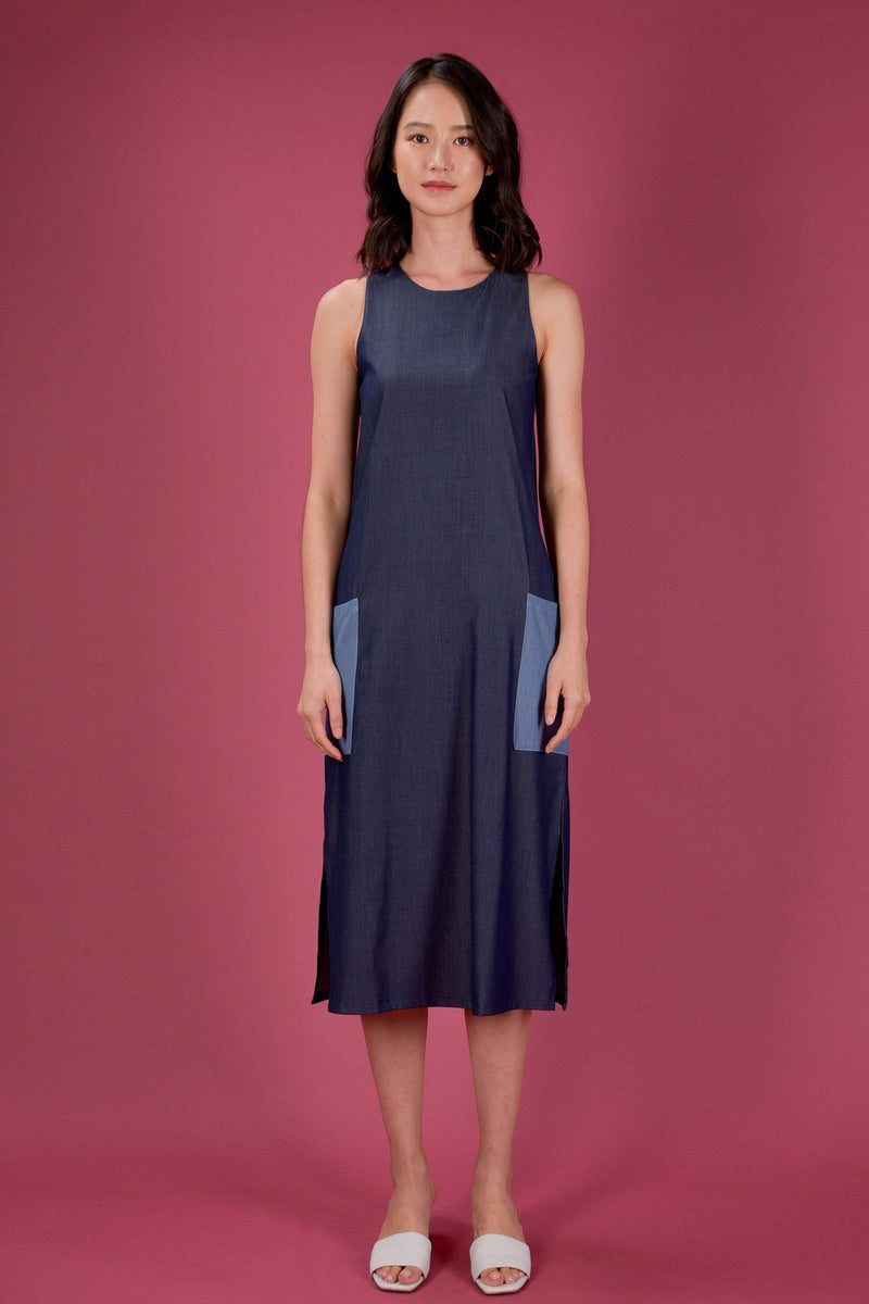 AWE Dresses EVERYDAY COLOURBLOCK A-LINE MIDI DRESS IN DARK DENIM