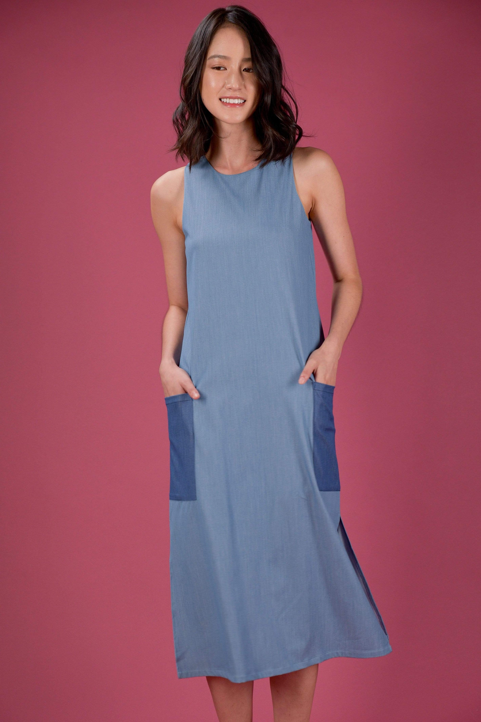 AWE Dresses EVERYDAY COLOURBLOCK A-LINE MIDI DRESS IN LIGHT DENIM