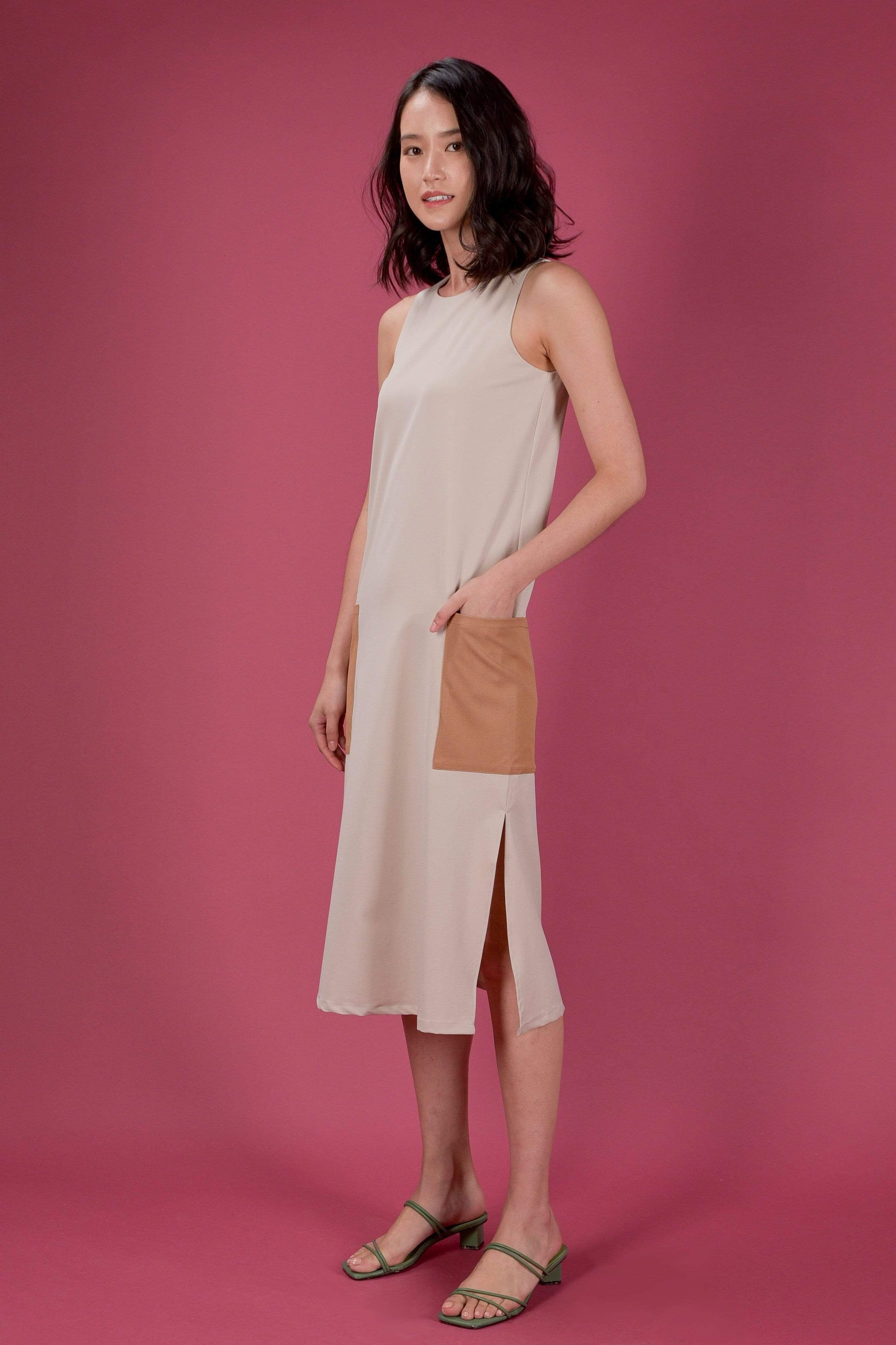 AWE Dresses EVERYDAY COLOURBLOCK A-LINE MIDI DRESS IN SAND
