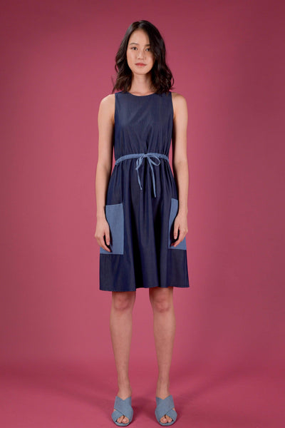 AWE Dresses EVERYDAY DRAWSTRING DRESS IN DARK DENIM