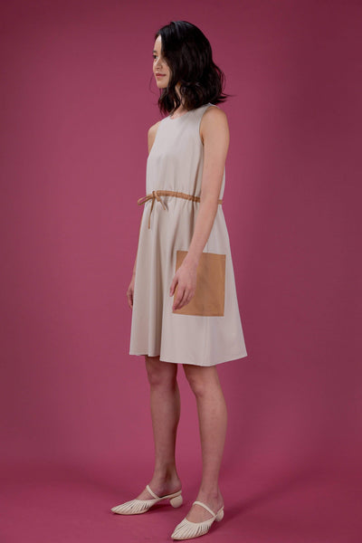 AWE Dresses EVERYDAY DRAWSTRING DRESS IN SAND