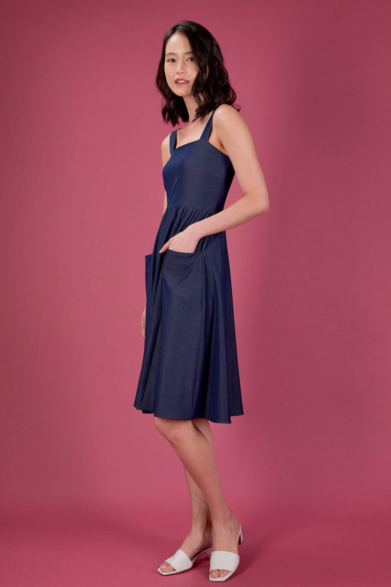 AWE Dresses EVERYDAY SQUARE NECK POCKET DRESS IN DARK DENIM