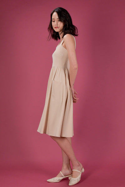 AWE Dresses EVERYDAY SQUARE NECK POCKET DRESS IN SAND