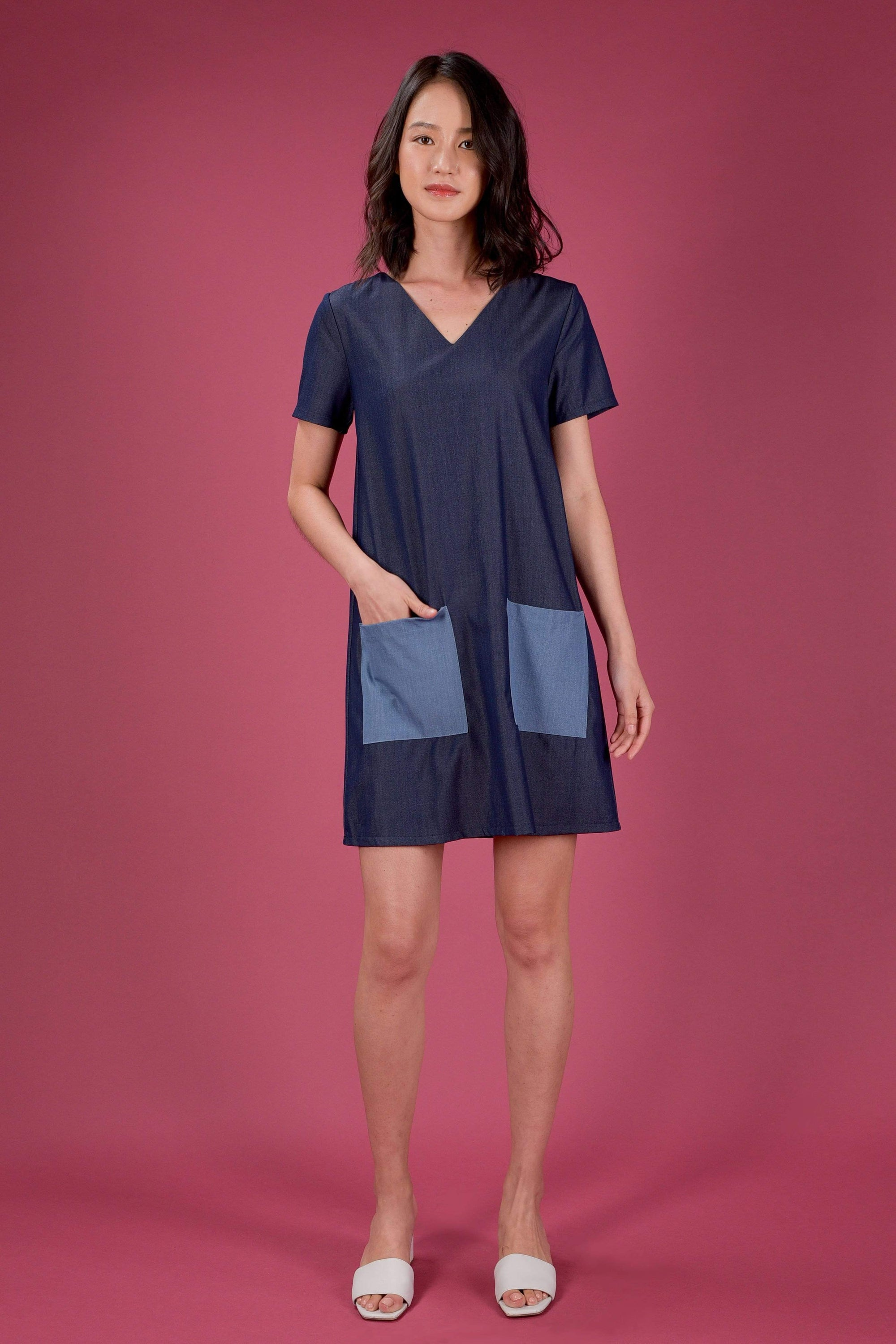 AWE Dresses EVERYDAY V-NECK COLOURBLOCK SLEEVED DRESS IN DARK DENIM