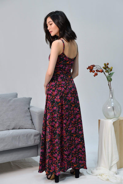 AWE Dresses FAITH BLACK MINI FLORAL MAXI DRESS