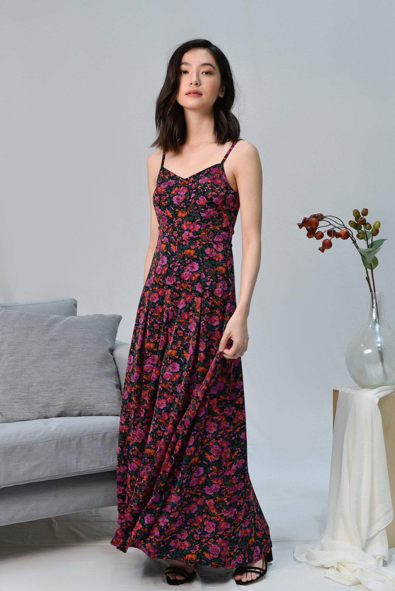 FAITH BLACK MINI FLORAL MAXI DRESS