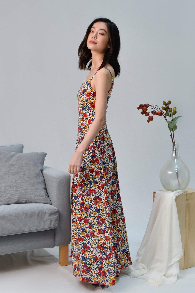 FAITH WHITE MINI FLORAL MAXI DRESS