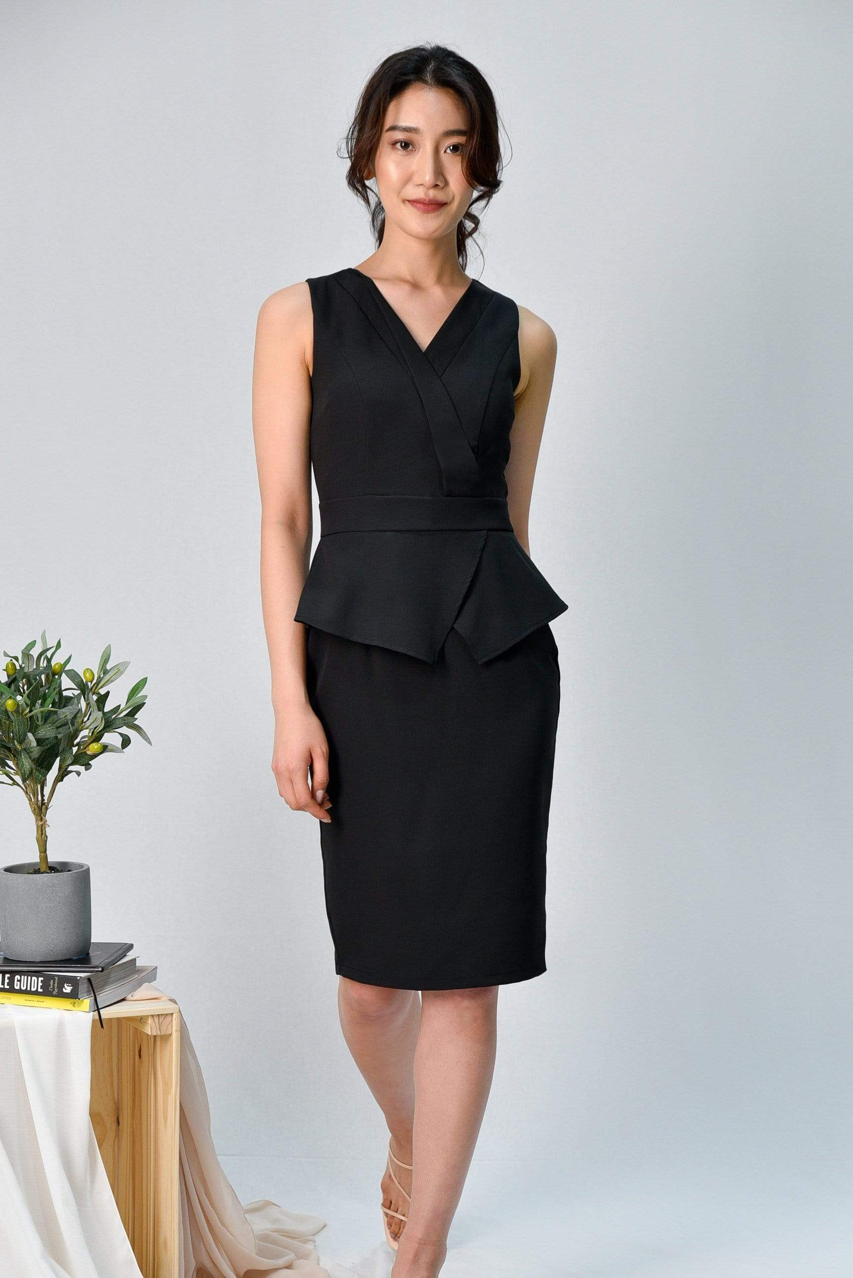 FARAH BLACK PEPLUM PENCIL DRESS