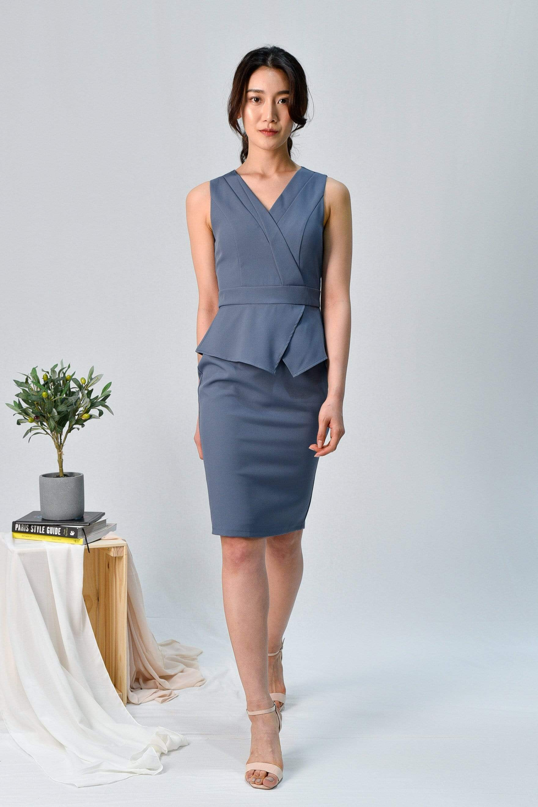FARAH BLUE PEPLUM PENCIL DRESS