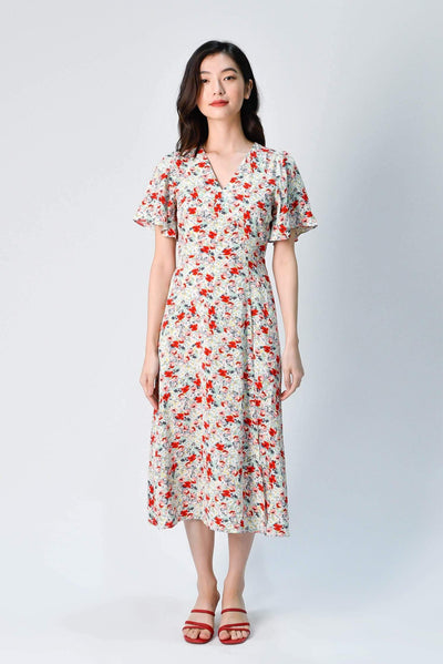 AWE Dresses FIORE WHITE FLORAL FLUTTER-SLEEVED MIDI DRESS
