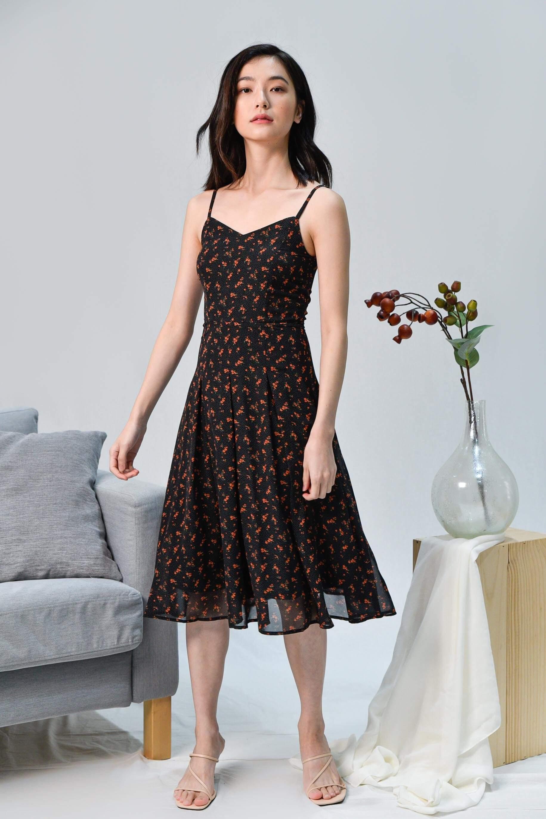 FRANCES BLACK FLORAL SPAG DRESS