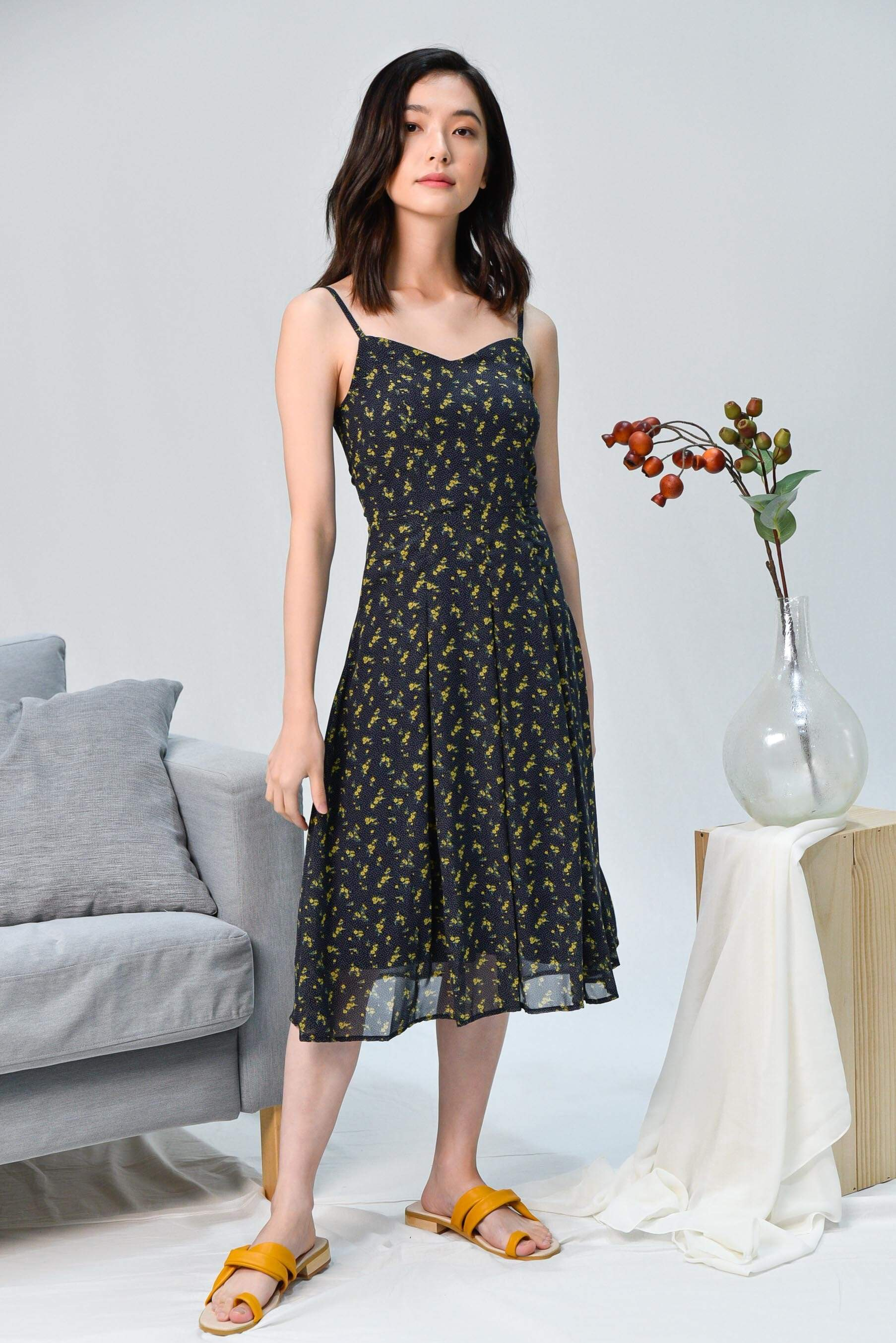 FRANCES NAVY FLORAL SPAG DRESS
