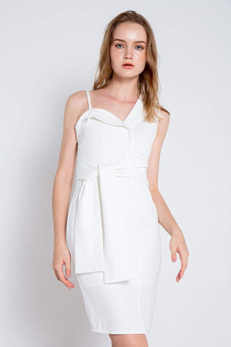 GLYNDA WHITE ASYMMETRICAL SLIT DRESS