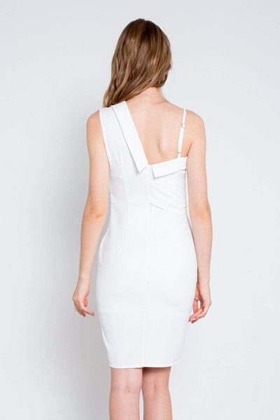 AWE Dresses GLYNDA WHITE ASYMMETRICAL SLIT DRESS