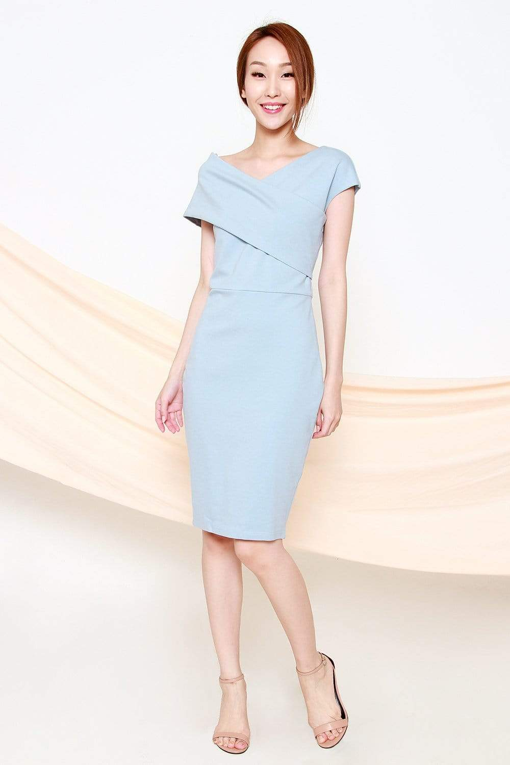 GRACIA BLUE OFF-SHOULDER DRESS