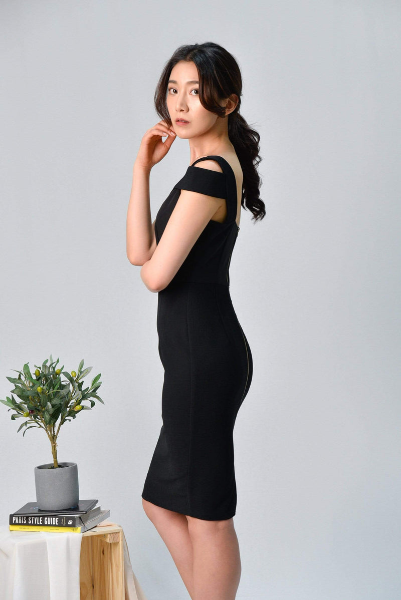 HADID BLACK ASYMMETRICAL PENCIL DRESS