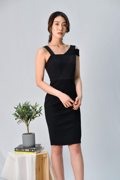 AWE Dresses HADID BLACK ASYMMETRICAL PENCIL DRESS